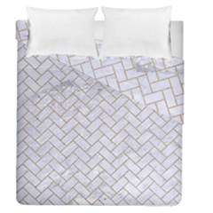 BRICK2 WHITE MARBLE & SAND (R) Duvet Cover Double Side (Queen Size)