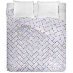 BRICK2 WHITE MARBLE & SAND (R) Duvet Cover Double Side (California King Size)