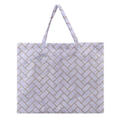 Brick2 White Marble & Sand (r) Zipper Large Tote Bag by trendistuff