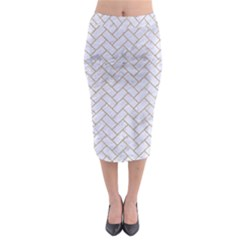 Brick2 White Marble & Sand (r) Midi Pencil Skirt by trendistuff