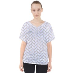 Brick2 White Marble & Sand (r) V Neck Dolman Drape Top by trendistuff