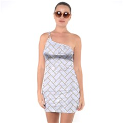 BRICK2 WHITE MARBLE & SAND (R) One Soulder Bodycon Dress