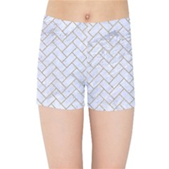 Brick2 White Marble & Sand (r) Kids Sports Shorts by trendistuff