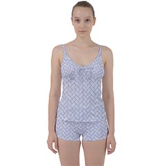 Brick2 White Marble & Sand (r) Tie Front Two Piece Tankini by trendistuff