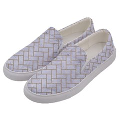 Brick2 White Marble & Sand (r) Men s Canvas Slip Ons by trendistuff