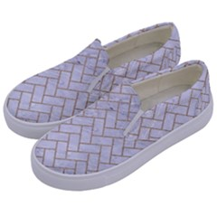 Brick2 White Marble & Sand (r) Kids  Canvas Slip Ons by trendistuff