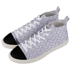 Brick2 White Marble & Sand (r) Men s Mid Top Canvas Sneakers by trendistuff