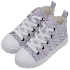 Brick2 White Marble & Sand (r) Kid s Mid Top Canvas Sneakers by trendistuff