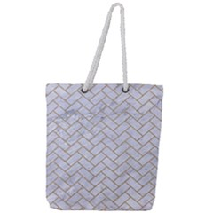 Brick2 White Marble & Sand (r) Full Print Rope Handle Tote (large) by trendistuff