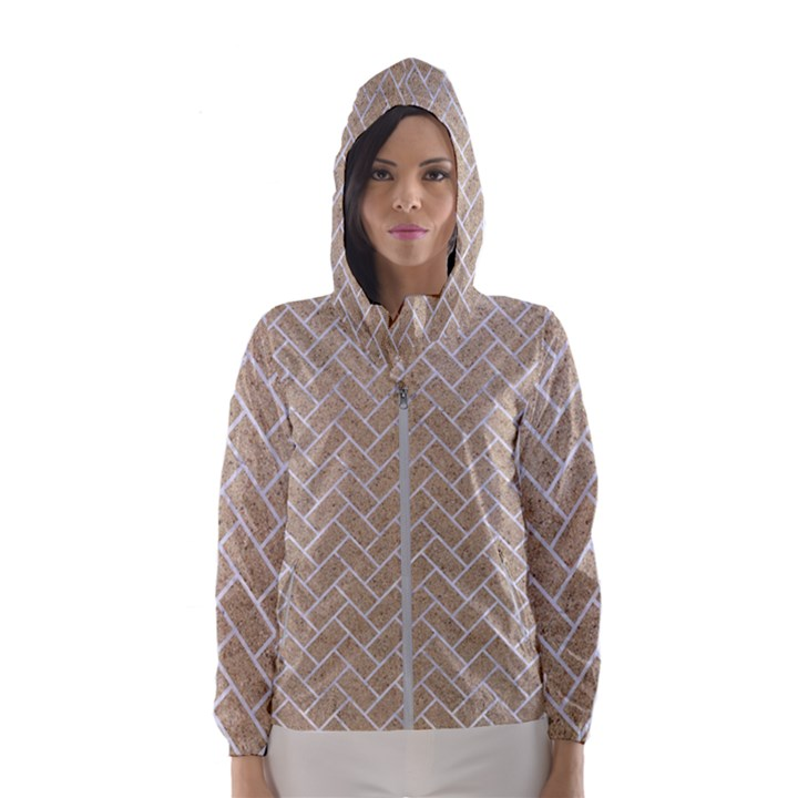 BRICK2 WHITE MARBLE & SAND Hooded Wind Breaker (Women)