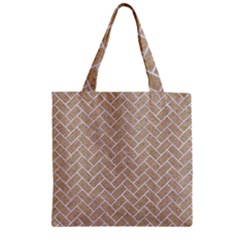 Brick2 White Marble & Sand Zipper Grocery Tote Bag by trendistuff