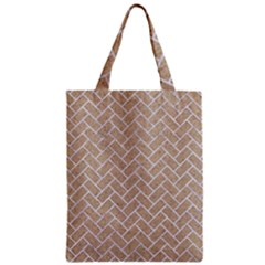 Brick2 White Marble & Sand Zipper Classic Tote Bag by trendistuff