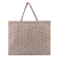 Brick2 White Marble & Sand Zipper Large Tote Bag by trendistuff