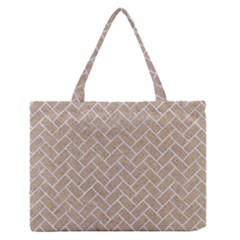 Brick2 White Marble & Sand Zipper Medium Tote Bag by trendistuff