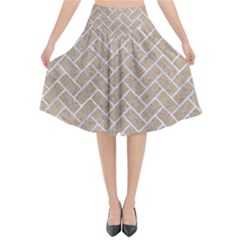 Brick2 White Marble & Sand Flared Midi Skirt