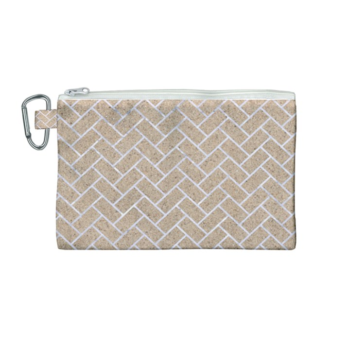 BRICK2 WHITE MARBLE & SAND Canvas Cosmetic Bag (Medium)