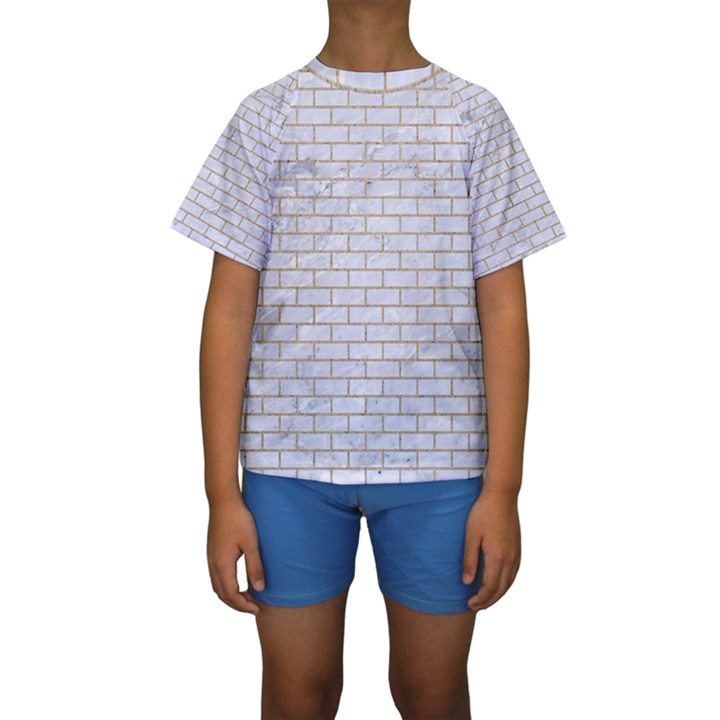 BRICK1 WHITE MARBLE & SAND (R) Kids  Short Sleeve Swimwear