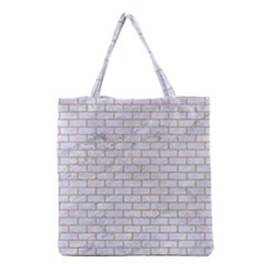 Brick1 White Marble & Sand (r) Grocery Tote Bag by trendistuff