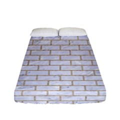 Brick1 White Marble & Sand (r) Fitted Sheet (full/ Double Size) by trendistuff