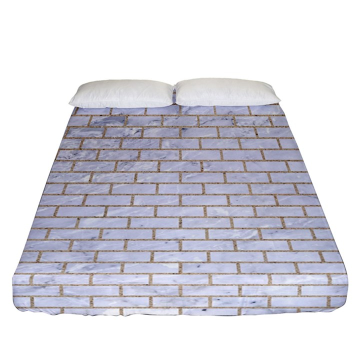 BRICK1 WHITE MARBLE & SAND (R) Fitted Sheet (California King Size)