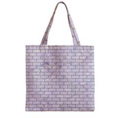 Brick1 White Marble & Sand (r) Zipper Grocery Tote Bag by trendistuff