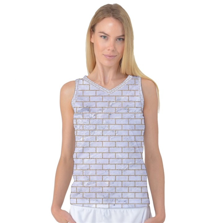 BRICK1 WHITE MARBLE & SAND (R) Women s Basketball Tank Top