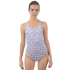 Brick1 White Marble & Sand (r) Cut Out Back One Piece Swimsuit