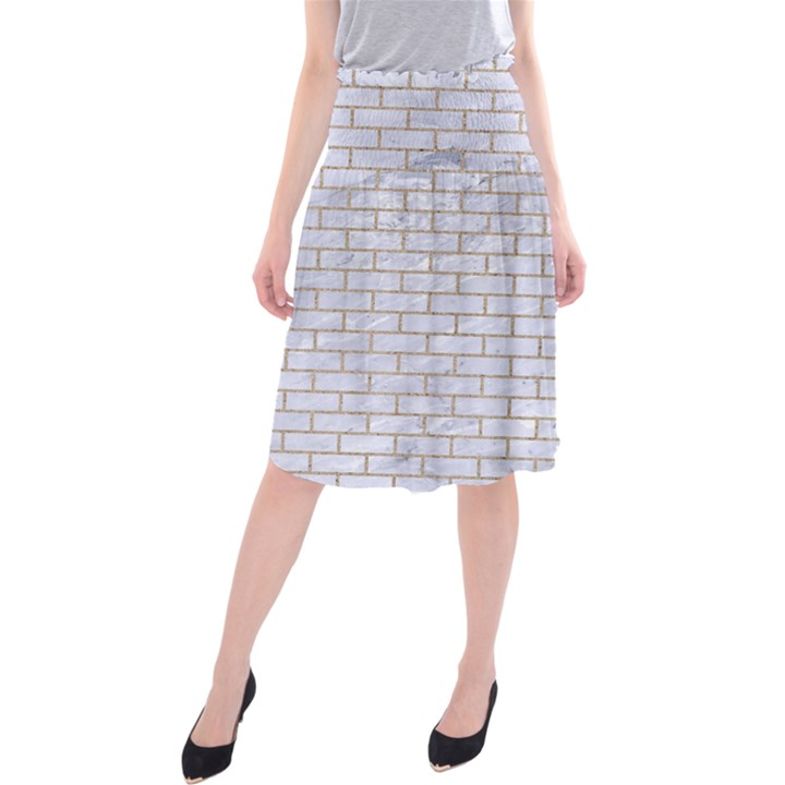 BRICK1 WHITE MARBLE & SAND (R) Midi Beach Skirt