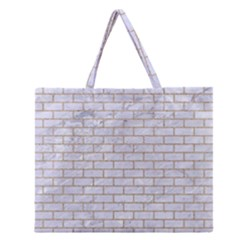 Brick1 White Marble & Sand (r) Zipper Large Tote Bag by trendistuff