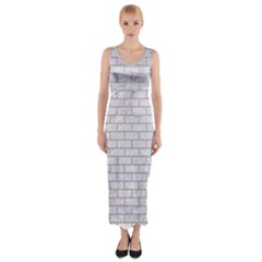 Brick1 White Marble & Sand (r) Fitted Maxi Dress by trendistuff