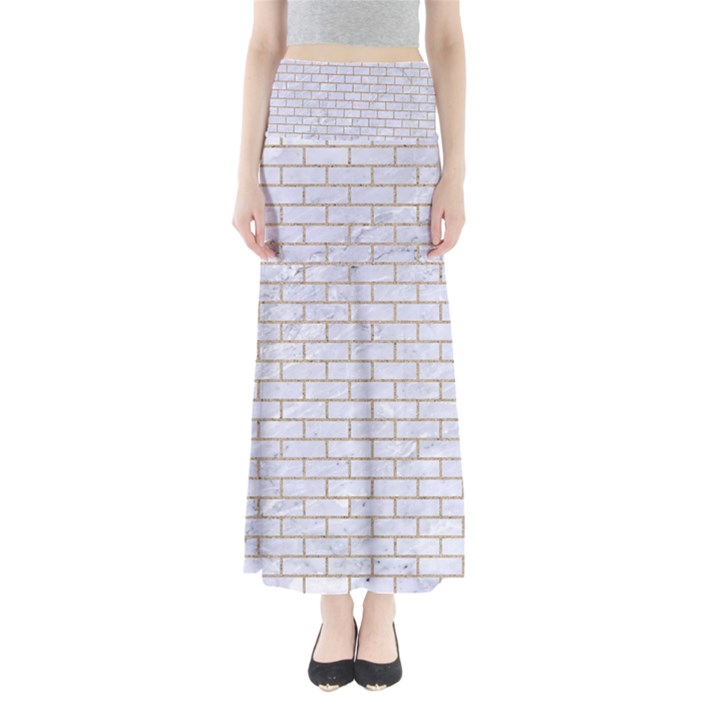 BRICK1 WHITE MARBLE & SAND (R) Full Length Maxi Skirt