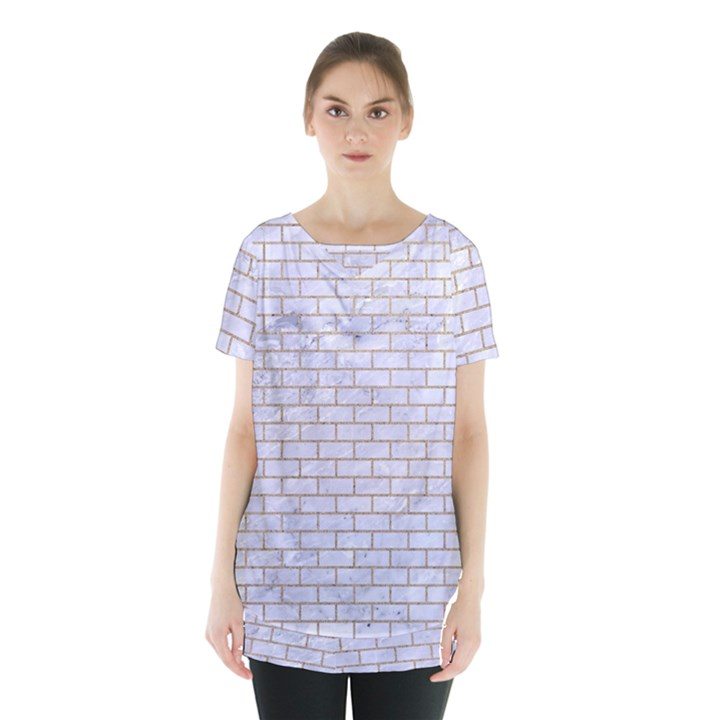BRICK1 WHITE MARBLE & SAND (R) Skirt Hem Sports Top