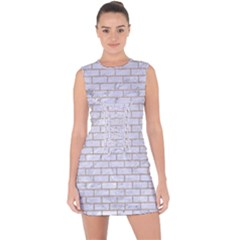 Brick1 White Marble & Sand (r) Lace Up Front Bodycon Dress