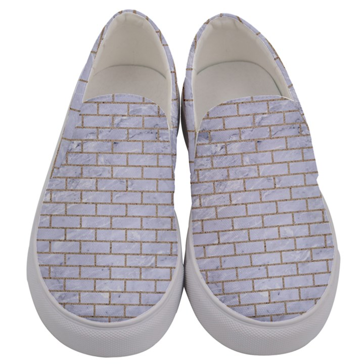 BRICK1 WHITE MARBLE & SAND (R) Men s Canvas Slip Ons