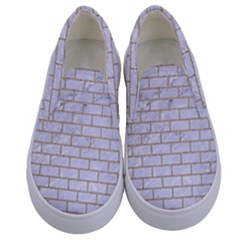 Brick1 White Marble & Sand (r) Kids  Canvas Slip Ons