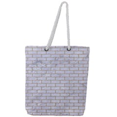 Brick1 White Marble & Sand (r) Full Print Rope Handle Tote (large)