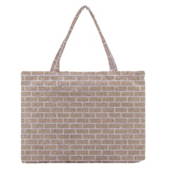Brick1 White Marble & Sand Zipper Medium Tote Bag by trendistuff