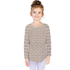 Brick1 White Marble & Sand Kids  Long Sleeve Tee