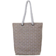 Brick1 White Marble & Sand Full Print Rope Handle Tote (small) by trendistuff