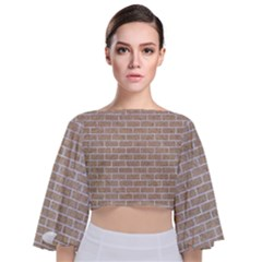 Brick1 White Marble & Sand Tie Back Butterfly Sleeve Chiffon Top
