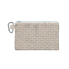 Brick1 White Marble & Sand Canvas Cosmetic Bag (small) by trendistuff