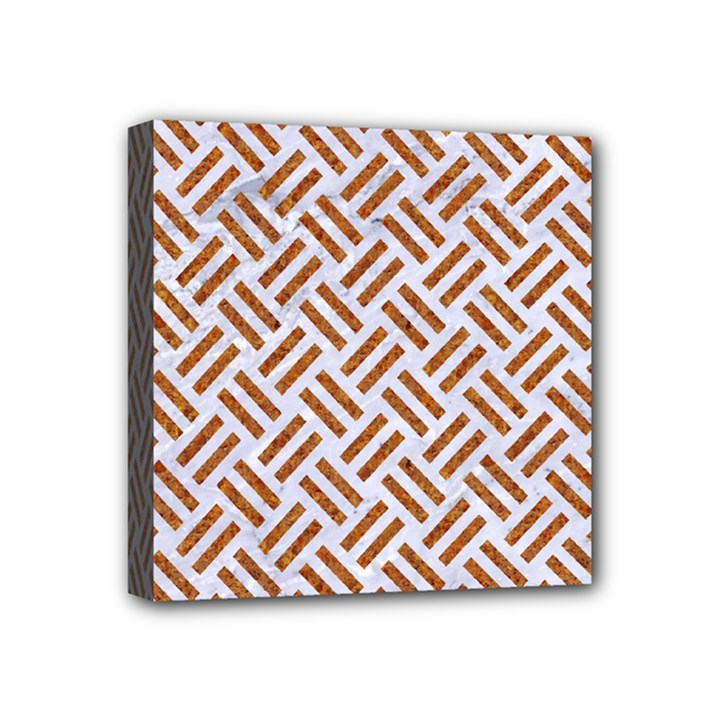 WOVEN2 WHITE MARBLE & RUSTED METAL (R) Mini Canvas 4  x 4