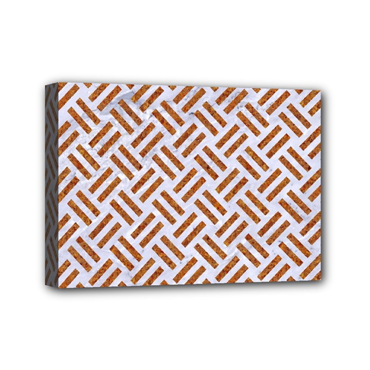 WOVEN2 WHITE MARBLE & RUSTED METAL (R) Mini Canvas 7  x 5