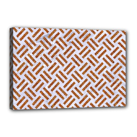 Woven2 White Marble & Rusted Metal (r) Canvas 18  X 12
