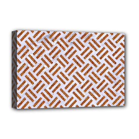 Woven2 White Marble & Rusted Metal (r) Deluxe Canvas 18  X 12   by trendistuff