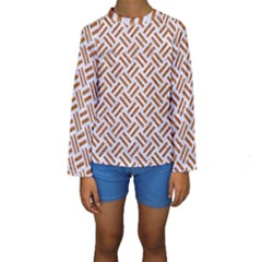 WOVEN2 WHITE MARBLE & RUSTED METAL (R) Kids  Long Sleeve Swimwear