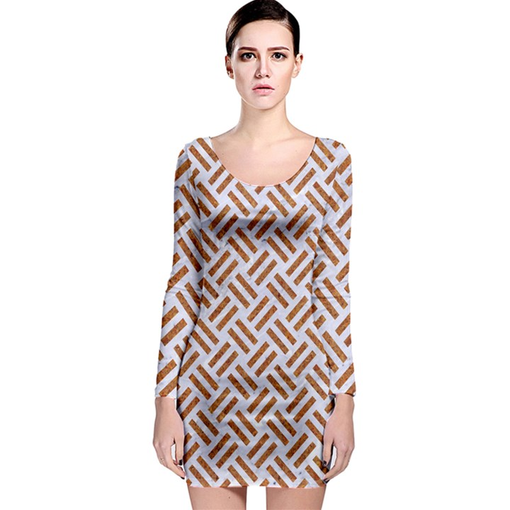 WOVEN2 WHITE MARBLE & RUSTED METAL (R) Long Sleeve Bodycon Dress