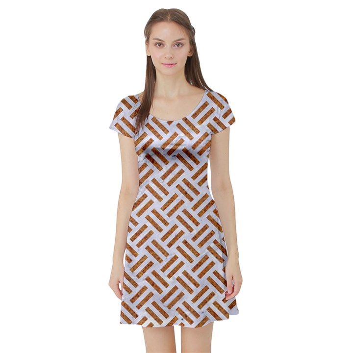 WOVEN2 WHITE MARBLE & RUSTED METAL (R) Short Sleeve Skater Dress
