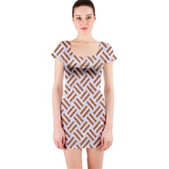 WOVEN2 WHITE MARBLE & RUSTED METAL (R) Short Sleeve Bodycon Dress