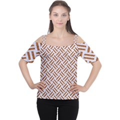 WOVEN2 WHITE MARBLE & RUSTED METAL (R) Cutout Shoulder Tee